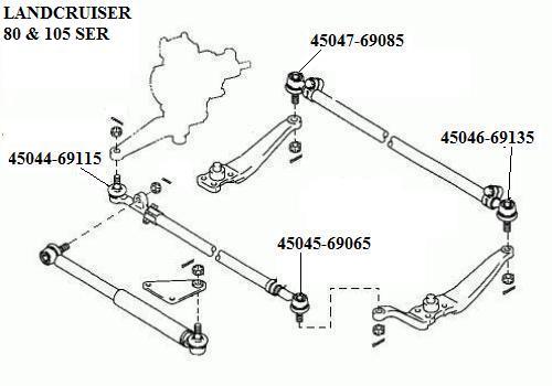 45046-69135 - End Steering Tie Rod Lh Landcruiser 78 79 80 105 Series